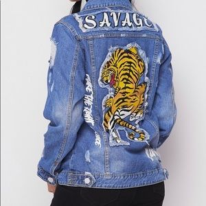Distressed Tiger Denim Jacket